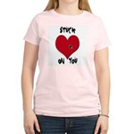 Stuck on you valentine Women's Pink T-Shirt