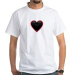 Black Glossy Heart Anti Valentine White T-Shirt