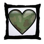 Love Military Cammo Heart Throw Pillow
