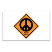 Peace Ahead Rectangle Sticker