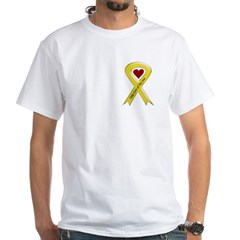 Take Care of my Son Yellow Ribbon White T-Shirt
