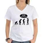 Evolution is following me Women's V-Neck T-Shirt
