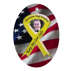 Photo Yellow Ribbon -Military Ornament (Oval)