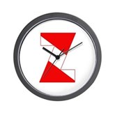 Scuba Flag Letter Z Wall Clock