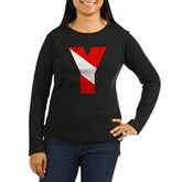 Scuba Flag Letter Y Women's Long Sleeve Dark T-Shi