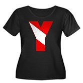 Scuba Flag Letter Y Women's Plus Size Scoop Neck D