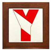 Scuba Flag Letter Y Framed Tile