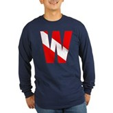 Scuba Flag Letter W Long Sleeve Dark T-Shirt