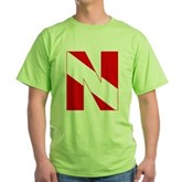 Scuba Flag Letter N Green T-Shirt