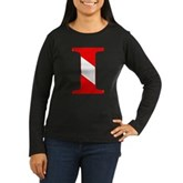 Scuba Flag Letter I Women's Long Sleeve Dark T-Shi