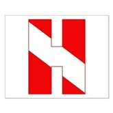 Scuba Flag Letter H Small Poster