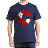 Scuba Flag Letter C Dark T-Shirt