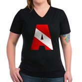 Scuba Flag Letter A Women's V-Neck Dark T-Shirt