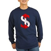 Scuba Flag Dollar Sign Long Sleeve Dark T-Shirt