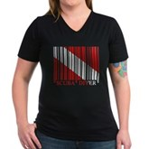 Barcode Dive Flag Women's V-Neck Dark T-Shirt