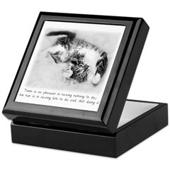 Relaxed Cat-And-Quote Keepsake Box