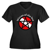 Wiccan of the Sea Women's Plus Size V-Neck Dark T-