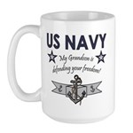 Navy Grandson defending Large Mug