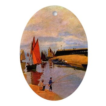 Port of Trouville by Monet Oval Ornament