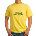 50% Irish 100% Wasted Yellow T-Shirt