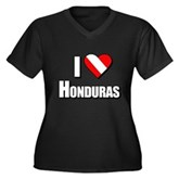 Scuba: I Love Honduras Women's Plus Size V-Neck Da