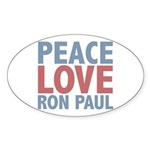 Peace Love Ron Paul Sticker (Oval)