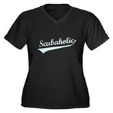 Scubaholic Women's Plus Size V-Neck Dark T-Shirt