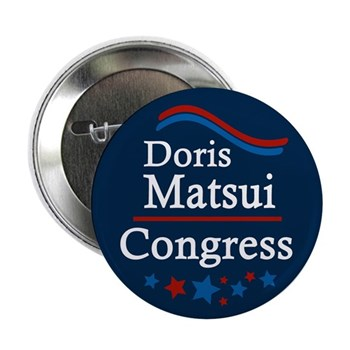 Re-Elect Doris Matsui to Congress Button with patriotic stars and stripes