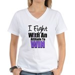 Hodgkin's Fight Attitude Women's V-Neck T-Shirt
