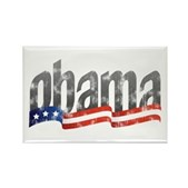 A retro-feel design showing the name Obama rising from a stylized flag streamer. Support Barack Obama for President in 2008 with this great, simple political design.