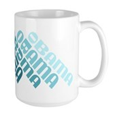 Stacked Obama Blue Large Mug