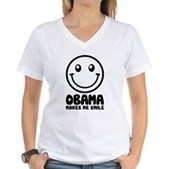 Obama Makes Me Smile Women's V-Neck T-Shirt
