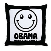 Obama Makes Me Smile Throw Pillow