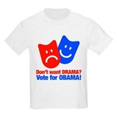 Vote Obama: No Drama! Kids Light T-Shirt