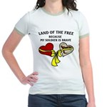 Land of the Free 2 hearts Jr. Ringer T-Shirt