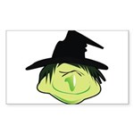 Happy Green Witch Sticker (Rectangle 10 pk)