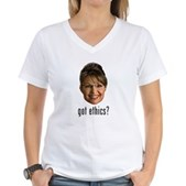 Anti-Palin Got Ethics? Women's V-Neck T-Shirt