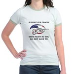 SUPPORT OUR TROOPS THEY FIGHT Jr. Ringer T-Shirt