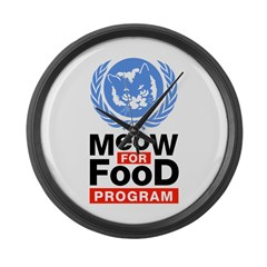 Meow For Food Program Large Wall Clock