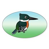 Green Kingfisher Oval Sticker