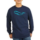 Stylized Sperm Whale Long Sleeve Dark T-Shirt