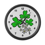 Irish Shamrocks Large Wall Clock