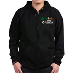 Irish I Was Drunk Tri-color Zip Hoodie (dark)