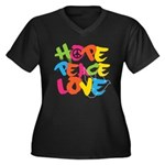 Hope Peace Love Women's Plus Size V-Neck Dark T-Shirt