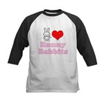 I Love Runny Babbits Kids Baseball Jersey