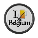 I Love Belgium (Beer) Large Wall Clock