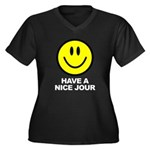 Have a Nice Jour Women's Plus Size V-Neck Dark T-Shirt