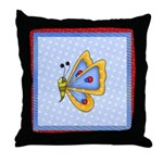 Butterfly On Polka Dots Throw Pillow