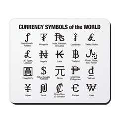 Currency Symbols of the World Mousepad