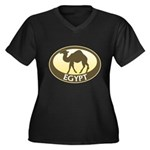 Egyptian Camel Women's Plus Size V-Neck Dark T-Shirt